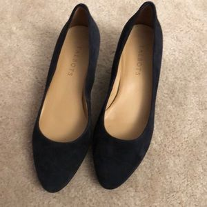 Talbots navy blue suede wedge flats